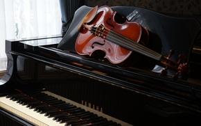 Picture violin, piano, music