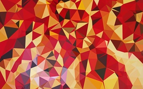 Picture light, line, red, paper, yellow, triangles, texture, bending, faces, geometry, brown, polygons, combination