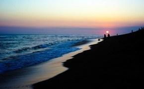 Picture beach, ocean, sunset, water, people, shore, bank