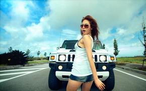 Picture look, girl, Girls, glasses, Hummer, white car