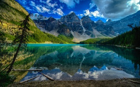 Picture reflection, mountains, trees, lake, clouds, the sky, Canada, landscape