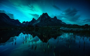 Picture mountains, night, reflection, stars