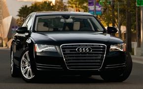 Picture Audi, black, street, lights, Audi, sedan, quattro, the front, A8L, 4.2, fsi