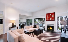 Picture sofa, furniture, interior, fireplace, living room