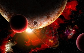 Picture red, storm, planet