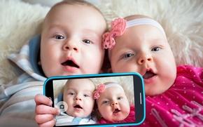 Picture children, photo, phone, kids, smartphone, baby, kid, Infants