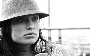Picture girl, face, background, hat, actress, Olivia Wilde, Olivia Wilde, beauty, black and white