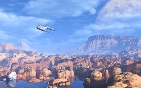 Picture the sky, water, clouds, planet, helmet, flight, red rocks