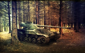 Picture forest, France, tank, pine, tanks, France, WoT, World of Tanks, Bat Chatillon 25 t, Wargaming.net