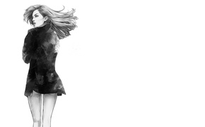 Picture the wind, Girl, black and white, turned