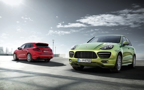 Picture the sun, red, jeep, green, Porsche Cayenne