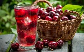 Picture drink, fruit, basket, cherry, fruit, cherry, drink, basket