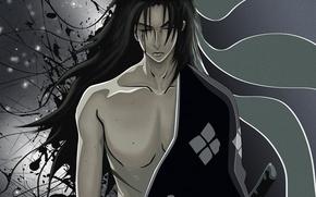 Picture blood, katana, samurai, Samurai Chanpur?, Samurai Champloo, shoulder, long hair, Japanese clothing, arm, wounded, swordsman, …