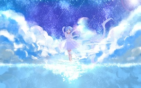 Picture the sky, water, girl, art, Rem, Re:Zero kara hajime chip isek or Seikatsu