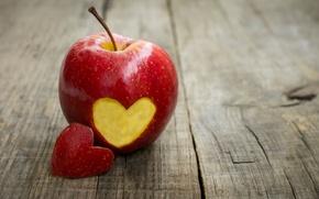 Wallpaper background, red, Wallpaper, mood, heart, apple, Apple, fruit, wallpaper, love, heart, heart, widescreen, background, full ...