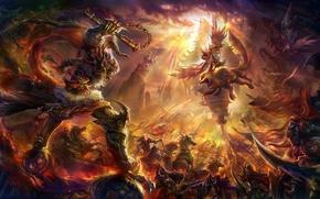 Picture fantasy, war, art, Angel and Diablo 3