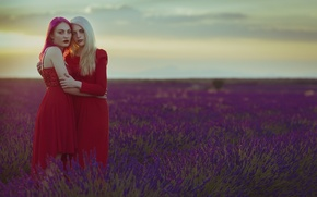 Picture field, girls, hair, dress, face, in the arms of