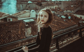 Picture girl, smoke, hair, wind, roofs, cityscape
