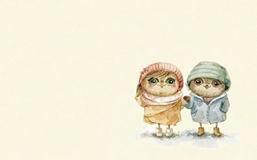 Wallpaper mood, owl, boy, art, girl, walk, children's, sovushka, Inga Paltser, Inga, Pelzer