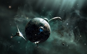 Picture stars, planets, spaceships, sci fi