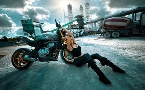Wallpaper girl, pose, motorcycle