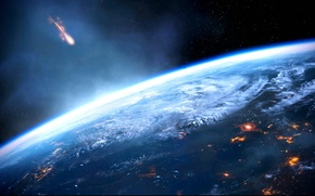 Picture planet, Earth, meteorite, mass effect 3