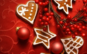 Wallpaper branch, toys, Christmas, cookies, new year, berries, new year, balls, christmas