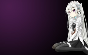 Picture girl, background, sitting, barrette, Chaika the coffin, Hitsugi no Chaika, Chaika Trabant