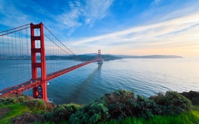 Picture road, the sky, grass, water, machine, bridge, the city, highway, CA, Bay, San Francisco, Golden ...
