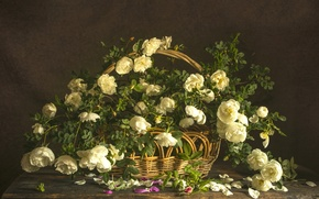 Picture basket, roses, composition