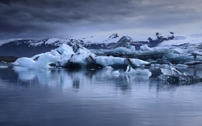 Picture ice, sea, clouds, snow, mountains, storm, gray clouds