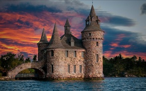 Picture the sky, clouds, trees, sunset, lake, river, castle, tower