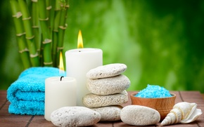Wallpaper salt, candles, bamboo, Spa, stones, spa, bath salt, stones, zen