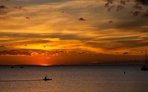 Picture sea, landscape, sunset, the evening