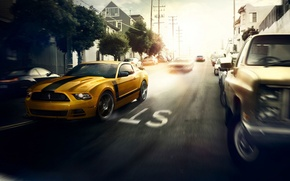 Picture Mustang, Ford, Muscle, Car, Speed, Front, Sun, Street, San Francisco, Yellow, 302, Boss