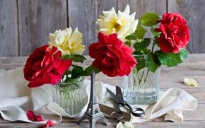 Picture roses, petals, Eiffel Tower, book, still life, scissors, napkin, souvenir