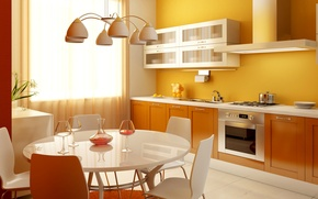 Picture table, kitchen, plate, chandelier