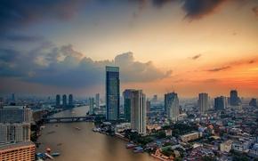 Picture road, the sky, clouds, bridge, city, the city, river, building, Thailand, Bangkok, Bangkok