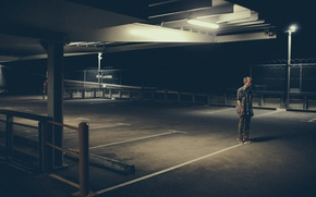 Picture light, loneliness, Parking, male, lampposts