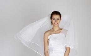 Wallpaper wedding, The bride, holiday, dress, veil
