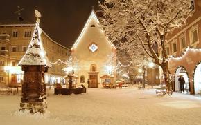 Picture winter, snow, house, Italy, the hotel, resort, Hotel, Italia, Valgardena