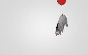 Picture red, ball, minimalism, Winnie The Pooh, light background, Eeyore, Winnie-the-Pooh, flies