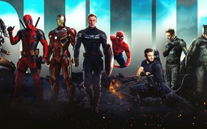 Picture Batman, iron man, deadpool, spider-man, superheroes, Wolverine, Hawkeye, wonder woman