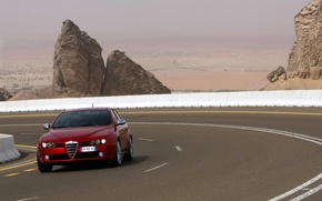 Picture road, red, rocks, valley, Alfa Romeo
