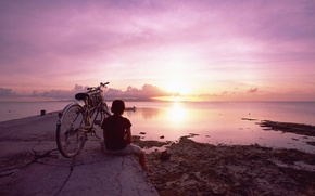 Picture sea, the sky, girl, sunset, bike