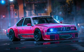 Picture BMW, Red, Rendering, Stance, 1988, Works, by Khyzyl Saleem