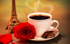 Picture flower, heart, rose, coffee, chocolate, petals, couples, Cup, hearts, figurine, Eiffel tower, red, saucer, slices