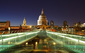 Picture water, bridge, lights, lights, England, London, building, the evening, Europe, UK, bridge, water, Europe, evening, ...