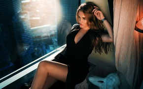 Picture pose, makeup, figure, dress, hairstyle, brown hair, sitting, in black, sexy, window, July, Ivan Gorokhov