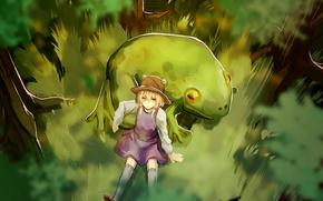Picture forest, girl, trees, frog, Art, Touhou Project, Suwako Moriya, Suwako Moriya, Project East